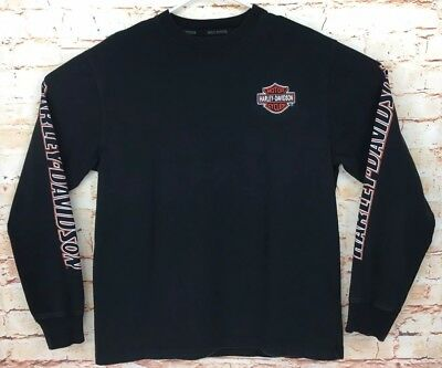 Men's Harley Davidson Long Sleeve T-Shirt Black Cotton Top Sz L