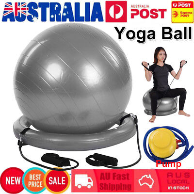 Exercise Yoga Gym Fitness Balance Trainer Ball W/ Resistance Bands Base & Pump