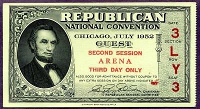 HGR SUNDAY 1952 RARE Republican Convention Ticket ((WANTED)) GEM UNCIRCULATED