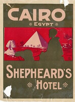 Old Cairo Egypt Shepheard's Hotel Sticker, Tears and Creases, Bright Colors