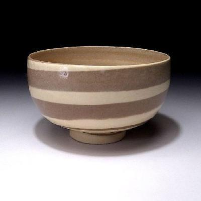 RK7: Vintage Japanese Tea Bowl, Seto Ware, Horizontal stripe patterns, Kneading