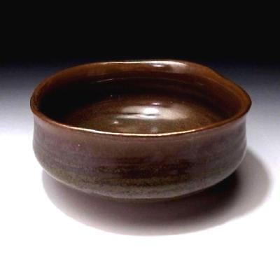 AN8 Vintage Japanese Hand-shaped Tea Bowl, Seto Ware, Brown & Grass Green Glazes