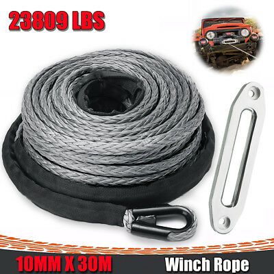 100ft 10mm Synthetic Winch Rope & Hawse Fairlead 10500KG Self Recovery 4x4