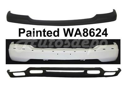 For 2007-2013 SILVERADO SIERRA HD REAR BUMPER END PAINTED WHITE W//HOLE 7PCS