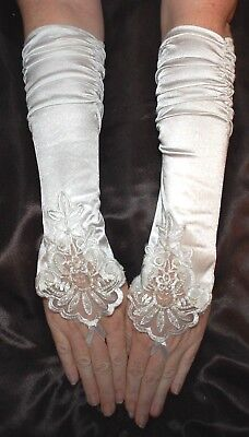 Big Girls Kids Ivory fingerless Lace Satin formal gloves for dress costume Party