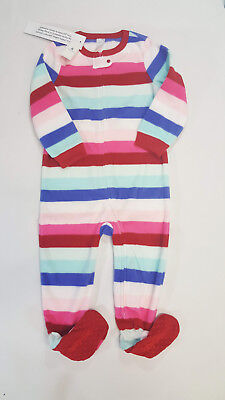 NWT Baby Gap Girls Size 2t or 5t Pink Fleece Crazy Stripes Footed Pajamas  Pjs 09bba1c5b