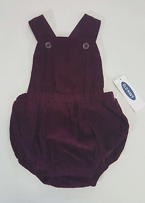 NWT Baby Girl Old Navy Size 0 3 6 12 18 24 Month Burgundy Corduroy Bubble Romper