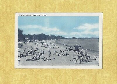 CT Westport 1946 postcard CAMPO BEACH CONN swimmers and sun seekers