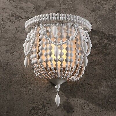 Classic Indoor Wood Wall Sconce Bedroom White Night Light Beaded Decor Fixture
