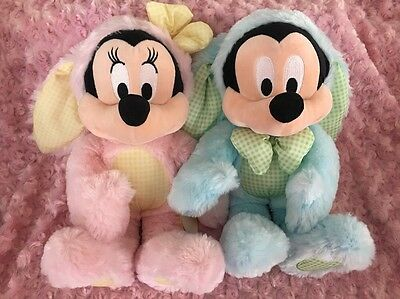 """Mickey & Minnie Mouse Easter Bunny 14"""" Plush /Stuffed Toy Set Disney Store NWT"""