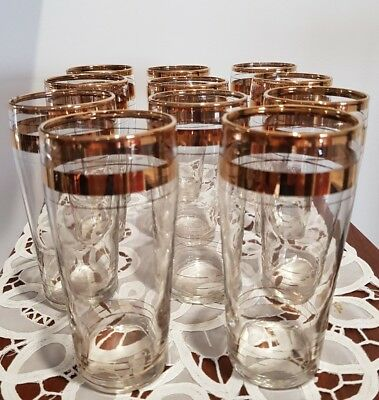 Retro 1960s High ball drinking glasses 22k gold trim