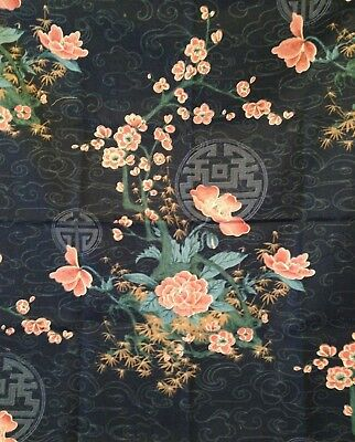 Fabric Sample Peonies Chinese Medallion Blue Chinoiserie  27 x 27 Home Dec