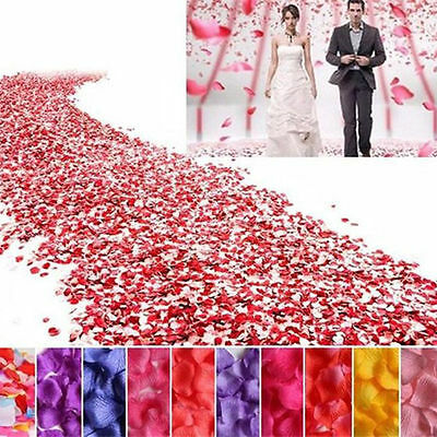 300~1000pcs Artificial Silk Rose Flower Petals Wedding Party Confett Petal Decor