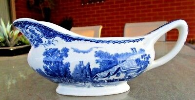 Barker Brothers England -Blue and white GRAVY BOAT - OLDE ENGLAND PATTERN