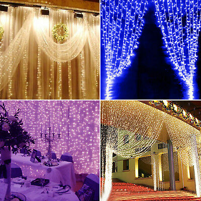 300 LED Window Curtain Icicle Lights String Fairy Light Wedding Party Christmas