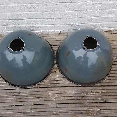2 Vintage French  Blue enamel industrial shades