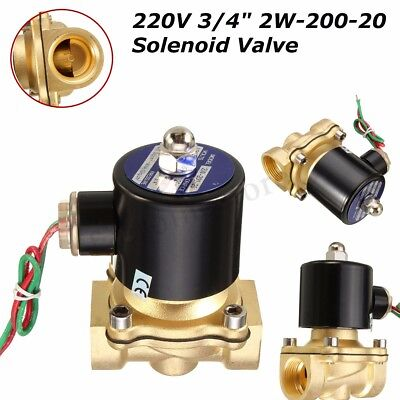 AC 220V 3/4''  Brass Electric Solenoid Valve Water Air Fuels Black 2W-200-20 !