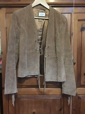Womens vintage suede jacket With Fringed Effect On Sleeves And Back Size 12