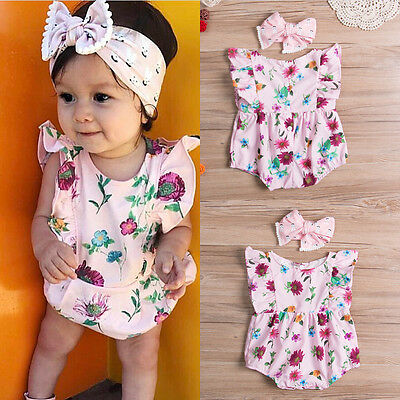 Infant Baby Kid Girl Romper Jumpsuit Bodysuit Headband Summer Clothes Outfit Set