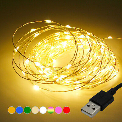 50 / 100LED USB LED Copper Wire String Fairy Light Strip Lamp Xmas Waterproof