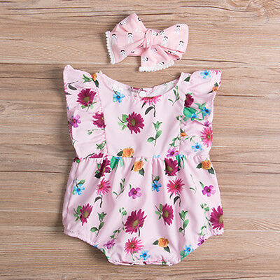 Infant Baby Kid Girl Romper Jumpsuit Bodysuit Headband Cotton Clothes Outfit Set