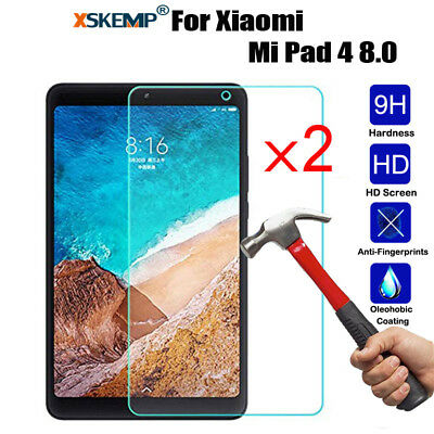2Pcs Clear Tempered Glass Screen Protector Cover Film For Xiaomi Mi Pad 4 4 Plus