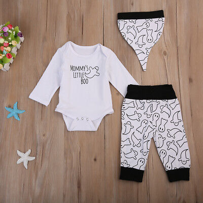 3Pcs Newborn Baby Boys Tops Romper Long Pants Hat Outfits Clothes Halloween Set