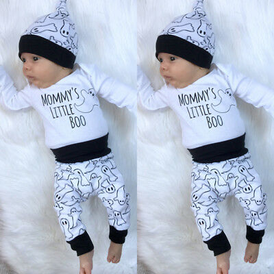 Halloween Newborn Baby Boys Girls Cotton Romper Pants Leggings Hat Outfits Set