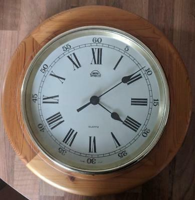 Vintage Nautical SMITHS TIMECALL Solid Wood 29cm WALL CLOCK
