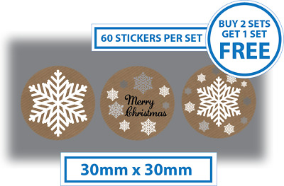 60 x Merry Christmas Stickers Card Decorating Present Seals Labels 30mm Brown