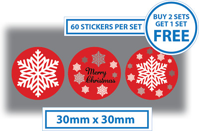 60 x Merry Christmas Stickers Labels Card Decorating Present Seals 30mm Red