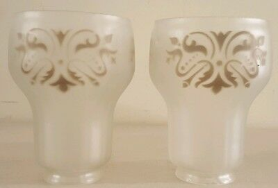 Antique Matching Pair Victorian Etched Glass Tulip Glass Hurricane Shade Globes