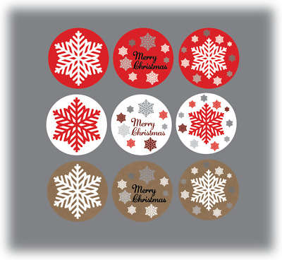 90 x Merry Christmas Stickers Labels Card Decorating Present Seals 30mm mixed