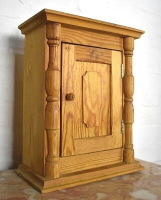 Antique style rustic farmhouse pine wall hanging cupboard - cabinet
