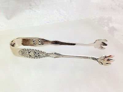 Vintage Sterling Silver Sugar Ice Cube Tong Collectible Serving Tongs Marked