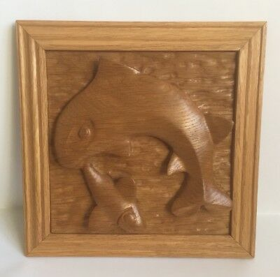 Vintage Wooden Plaque Hand Carved 3D Jumping Fish