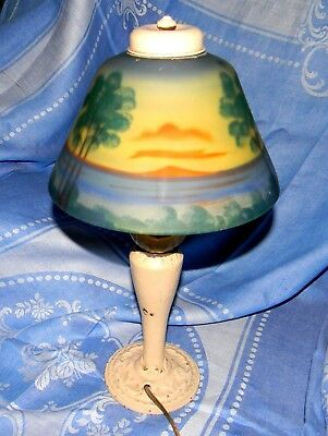 Signed Aladdin Electric Boudoir Table Lamp With Mint Reverse Painted Shade LOOK!