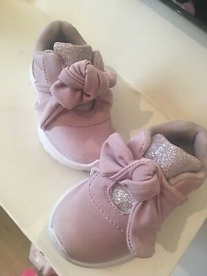 Baby Sparkly Pink/purple Trainers Shoes Bow Size 5