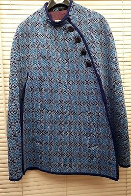 Blue woven in Wales by CORACLE CLOTHING lined unusual cape One size