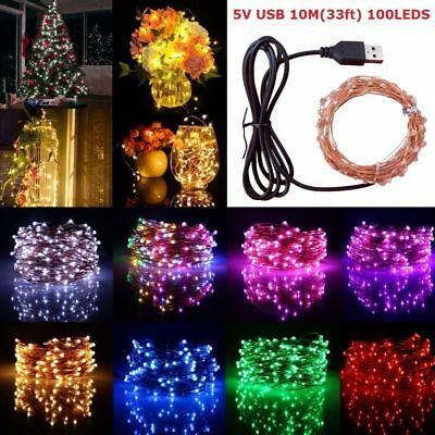 USB 33FT 10M 100 LEDs String Lights Copper Wire Lamp Wedding Xmas Party Decor 5V