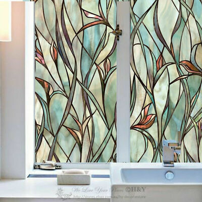 Flower Translucent Window Film Print Sticker Cling Stained Glass UV Block Gift