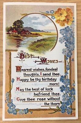 Postcard Birthday Wishes divided back unposted white border repro FREE SHIP