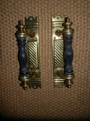 Large Pair Of Antique Ebony Hand Parts Georgian Solid Brass Pull Door Handles