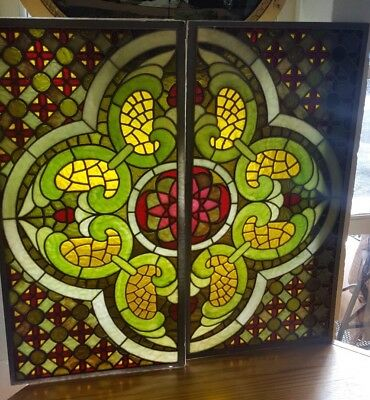 vintage antique stained glass window panels