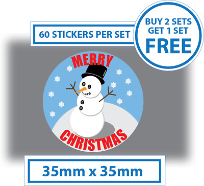 60 x Merry Christmas Stickers Snowman Labels Card Decorating Present Seals  35mm