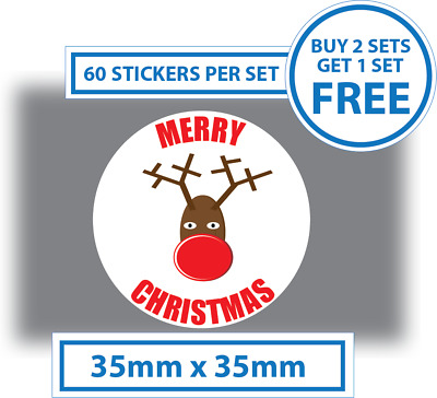60 x Merry Christmas Stickers Rudolph Labels Card Decorating Present Seals  35mm