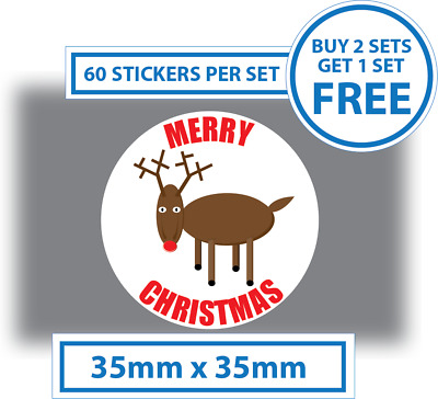 60 x Rudolph Merry Christmas Stickers Labels Card Decorating Present Seals  35mm