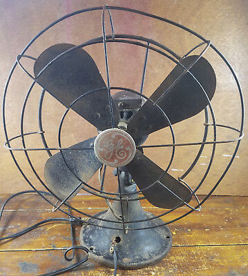 vintage ge electric fan black red very old style not working for parts or  repair