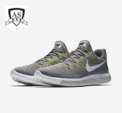 wholesale dealer ee157 00c9b NIKE MEN'S LUNAREPIC Low Flyknit 2 Cool Grey/White Glow 863779 003 Sz 8.5 -  13