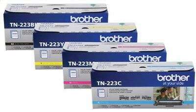Genuine Oem Brother Tn223Bk Tn223C Tn223Y Tn223M Toner Set (4-Pack) Brand New